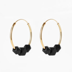 Facet large hoops - Black
