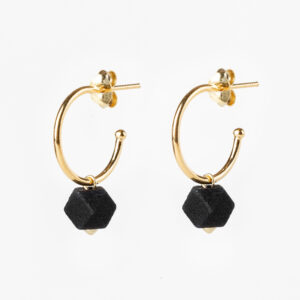 Facet small hoops - Black